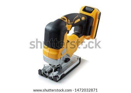 professional cordless jig saw on white background