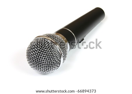 Professional cordless mic isolated against white background. Focus in the front.