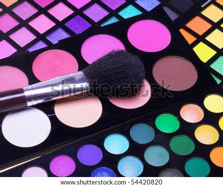 Professional cosmetics. Eye-shadow,rouge,po wder. - stock photo