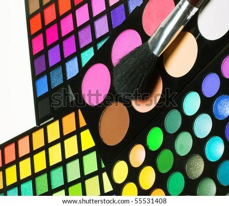 Professional cosmetics. Eye-shadow,rouge,powder.