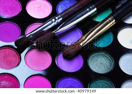 Professional cosmetics. Eyeshadows of different colors