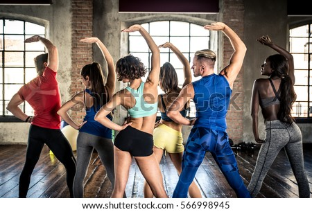 Professional dancer class in the gym
