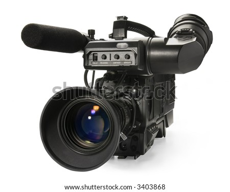 Professional digital video camera isolated on white background