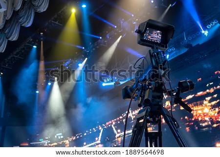Professional digital video camera. tv camera in a concert hal. Stok fotoğraf ©