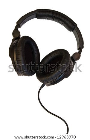 professional DJ headphones isolated with clipping path on white background