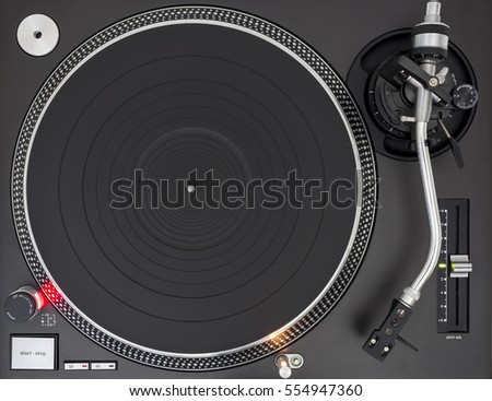 Professional DJ Turntable, Empty Platter, Static, Top View #554947360