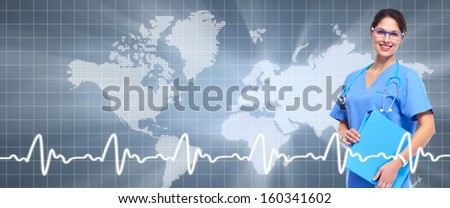 Professional doctor over healthcare background. Health care banner.
