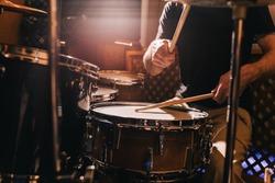Professional drum set closeup. Drummer with drums, live music concert