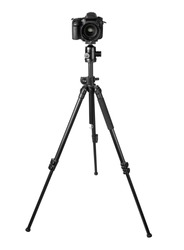 Professional DSLR camera on a tripod isolated on white background