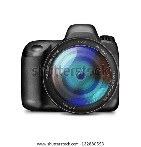 Professional DSLR camera without labels isolated on white - illustration