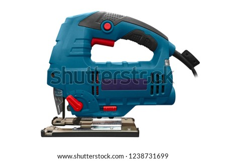 Professional electric jig saw isolated on white background. A jigsaw power tool isolated on white background. Electric jig saw. Professional electric jig saw isolated on white background