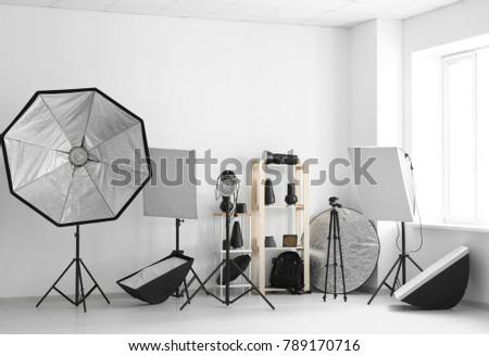 Professional equipment in modern photo studio