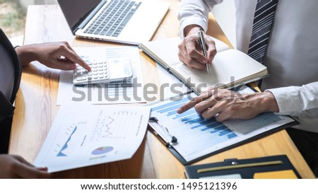 Professional executive Business colleague team working and analyzing with new project of accounting finance, Idea presentation and meeting strategy plan of financial business investment. #1495121396