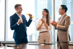 Professional executive business people group meeting and discussion in conference room, businessman present and talking with hands clap and admire