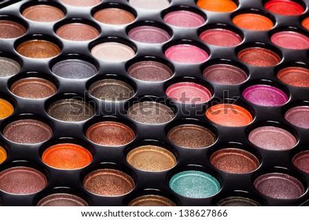 Professional eye shadows palette. Makeup background