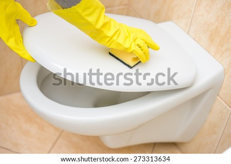 Professional female cleaner is cleaning toilet in bathroom