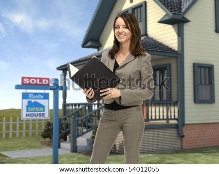 """Professional female real estate agent standing in front of a home with a """"sold"""" sign in the front lawn"""