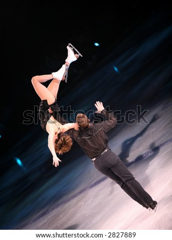 Professional figure skaters performing at Stars on ice show - stock photo