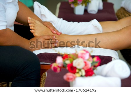 professional foot massage in Thai massage salon
