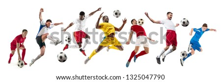 Professional football soccer players with ball isolated on white studio background. Collage with fit male models. Attack, defense, fight. Group of men with sport equipment.