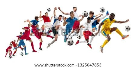 Professional football soccer players with ball isolated on white studio background. Collage with fit male models. Attack, defense, fight. Group of men with sport equipment. #1325047853
