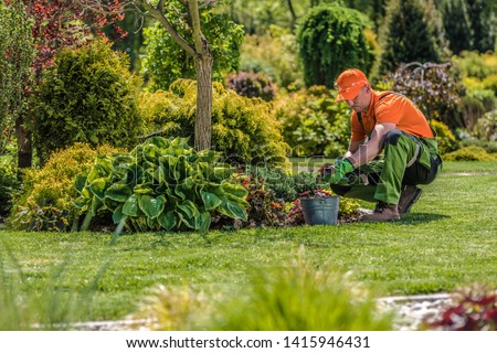 Professional Garden Worker. Caucasian Gardener and the Backyard Maintenance. Agriculture Industry Theme. Photo stock ©