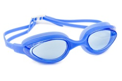 Professional glasses for swimming isolated on a white background. Blue swim goggle.