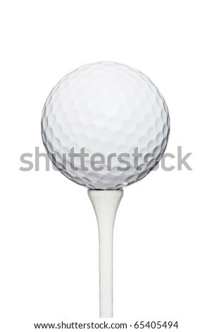 professional golf ball on a wooden tee, against white background