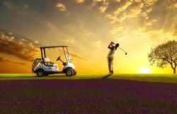 Professional golfer under teeing golf at golf course ,golf cart and sun sky background.