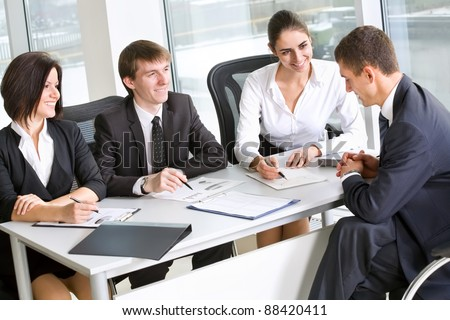 Professional group of business people at a meeting