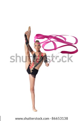professional gymnast stand on split with ribbon