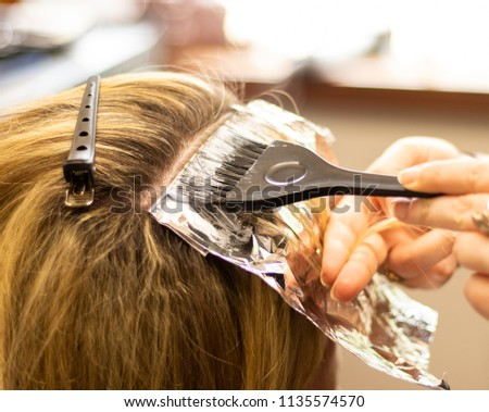 Professional hair stylist cutting hair of female client. Master stylist applying hair color and highlights. Blonde woman with highlights getting hair colored at a salon