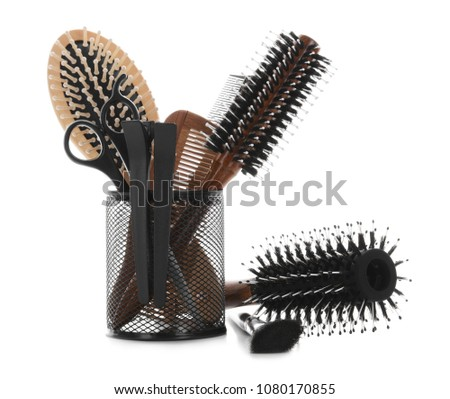 Professional hairdresser's set on white background #1080170855
