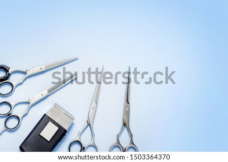 Professional Hairdresser Tools. Cut hair. Set of tools for beauty salon. Set of scissors for a new haircut Hair clipper for men #1503364370