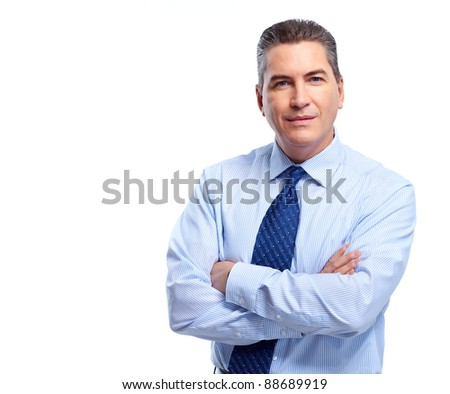 Professional handsome businessman. Isolated on white background.