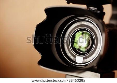 professional high definition camcorder in close up, selective focus