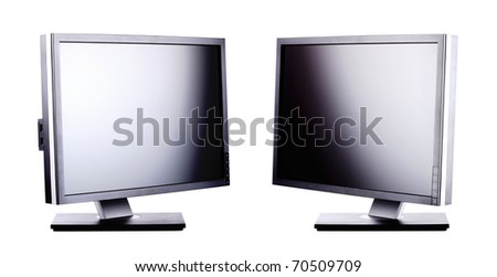 professional ips panel lcd monitors, isolated on white