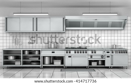 Professional kitchen facade. View surface in stainless steel. 3d render