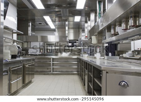 Professional kitchen , view counter in stainless steel . Bokeh . #295145096