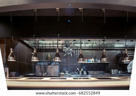 Professional kitchen , view counter in stainless steel . Bokeh . #682552849