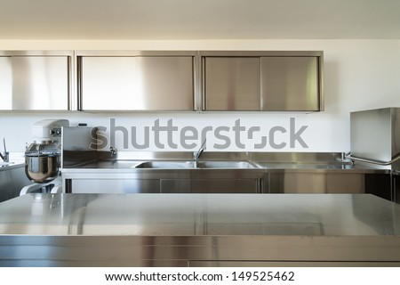 Shutterstock Professional kitchen, view counter  in steel