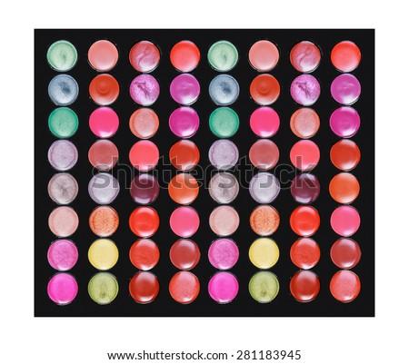 professional lipstick palette the makeup background. Set