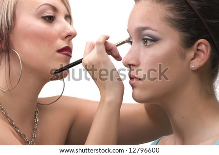 stock photo professional make up artist applying make up on a teen model 12796600 Layma   Hardcore Climax 16