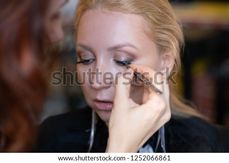 professional makeup artist applies makeup step by step on the face of a woman blonde #1252066861
