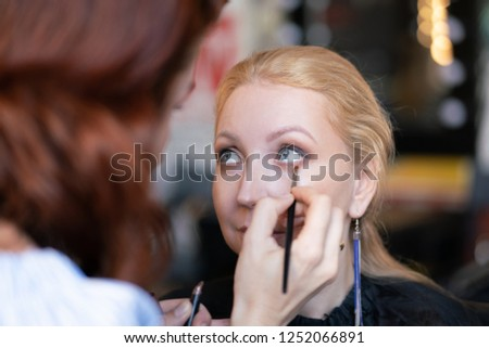 professional makeup artist applies makeup step by step on the face of a woman blonde #1252066891
