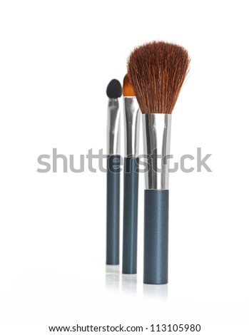 Professional makeup brush isolated on a white background - stock photo