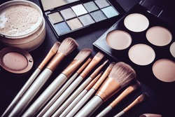 Professional makeup brushes and tools, make-up products set