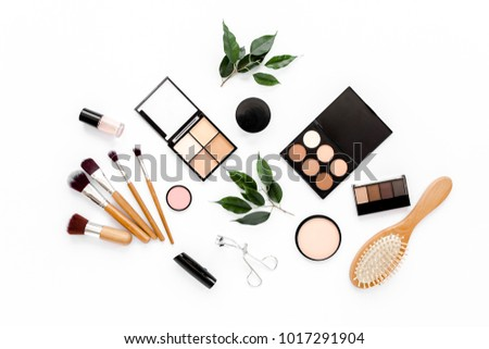 Professional makeup brushes and tools, make-up products set. Flat composition. magazines, social media. Top view. Flat lay.