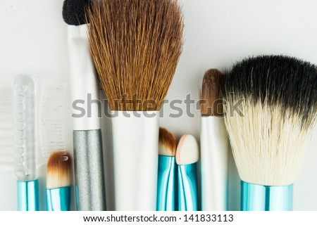 Professional makeup brushes on white