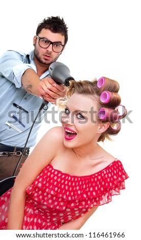 Professional male hairdresser, isolated on white